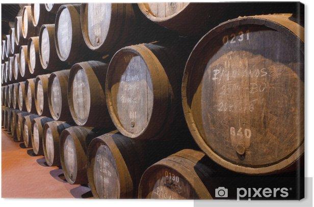Leinwandbild Port-Wein reift in Fässern im Keller - Europa