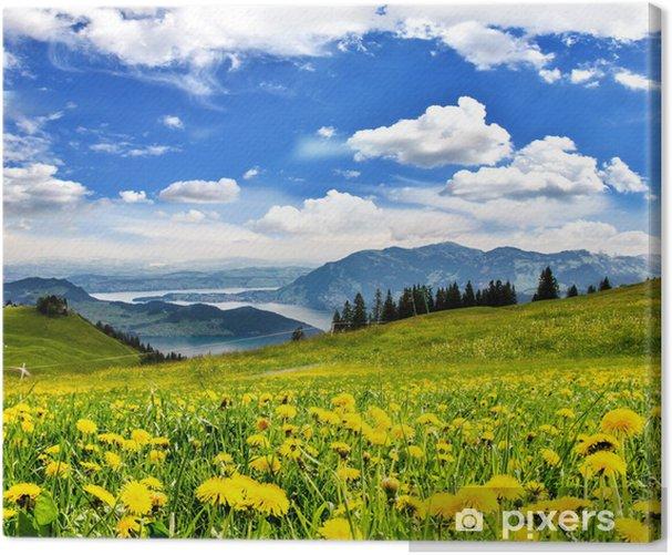 Leinwandbild Pusteblumen vor Schweizer See: Grenzenlose Entspannung :) - Wasser