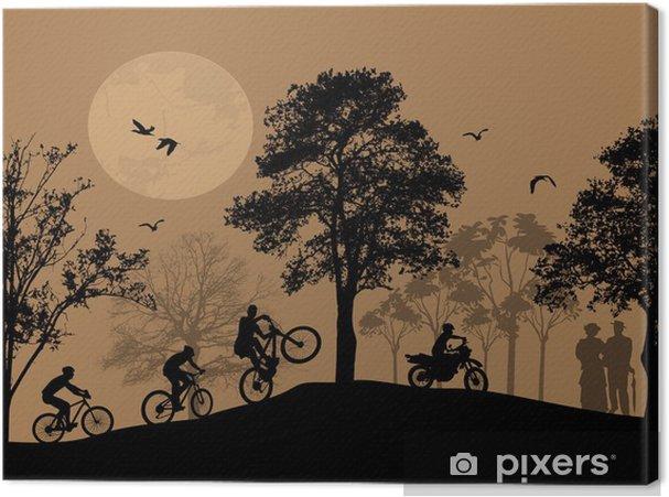 Leinwandbild Radfahrer Silhouetten auf schöne Landschaft - Hintergründe
