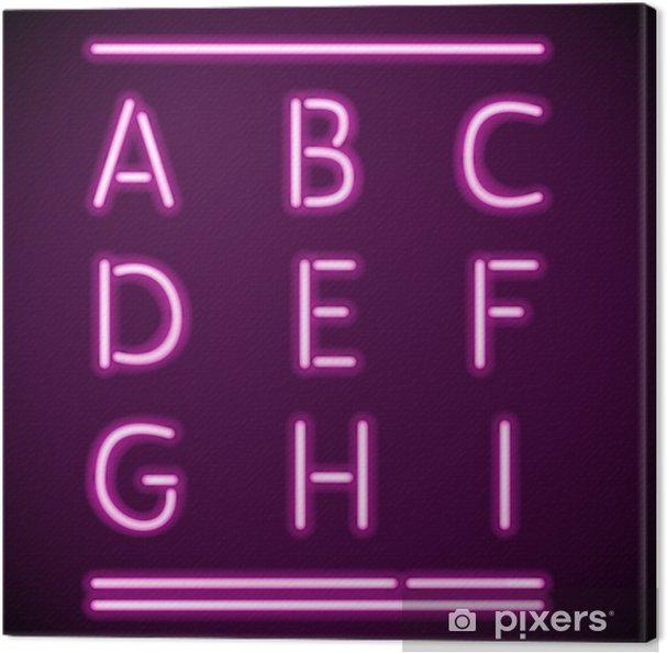 Leinwandbild Realistische Neon Alphabet, AI - Themen