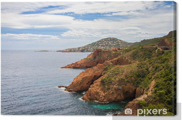 Leinwandbild Red Rocks an der Corniche Esterel - Wasser