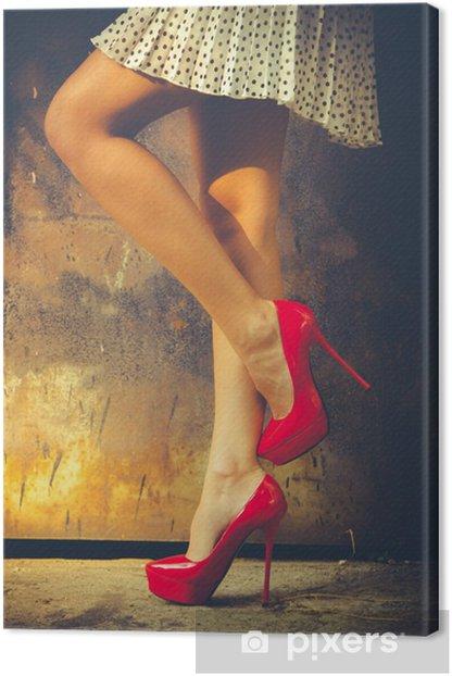 Leinwandbild Red Schuhen mit hohen Absätzen - Themen