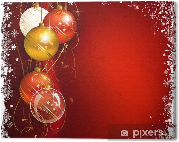 Hintergrund Weihnachten.Leinwandbild Red Weihnachten Hintergrund Mit Kugeln Abend