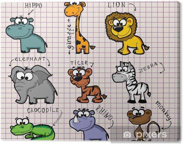 Leinwandbild Reihe von Comic-Tieren - Tiere
