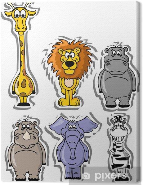 Leinwandbild Reihe von Comic-Tieren - Säugetiere