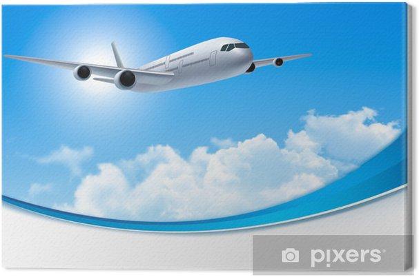Leinwandbild Reisen Hintergrund mit einem Flugzeug und weißen Wolken. Vector. - Himmel