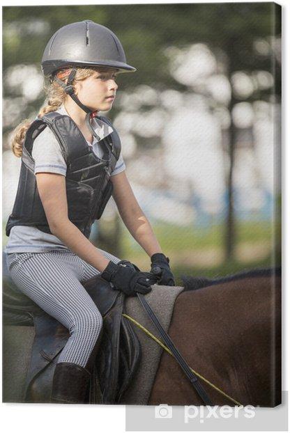 Leinwandbild Reiten - Porträt der schönen Pferde auf einem Pferd - Einzelsportarten
