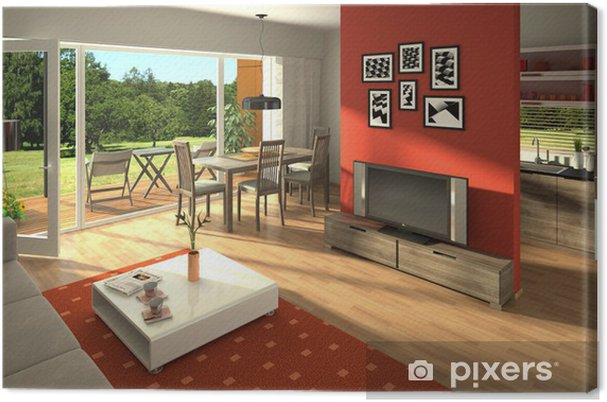 Leinwandbild Rendering von einem modernen Wohnzimmer mit offener Küche