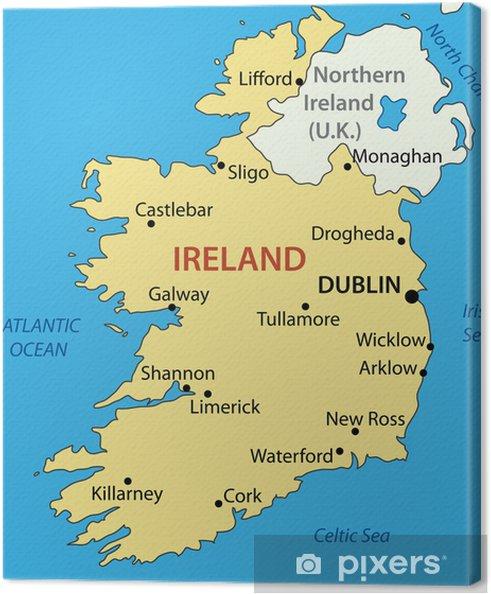 Irland Karte.Leinwandbild Republik Irland Vektor Karte