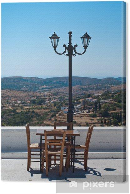Leinwandbild Restaurant-Terrasse in der griechischen Insel mit schönem Panorama. - Europa