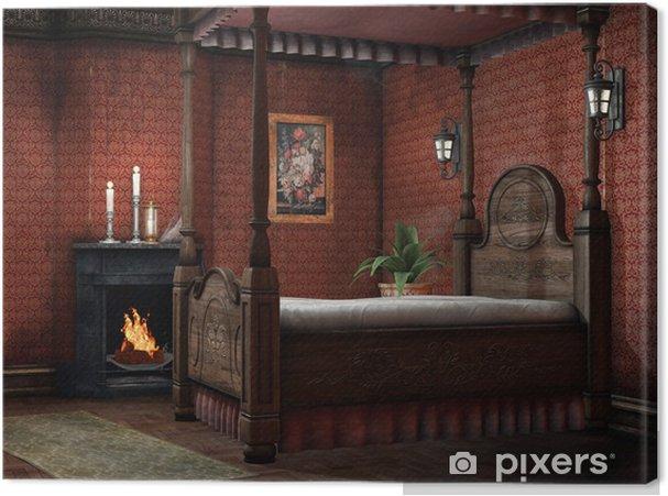 schlafzimmer kerzen, leinwandbild retro schlafzimmer mit kamin und kerzen • pixers® - wir, Design ideen