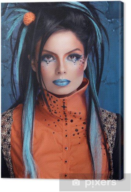 Leinwandbild Rock Madchen Mit Blauen Lippen Und Punk Frisur Gelehnt Grun