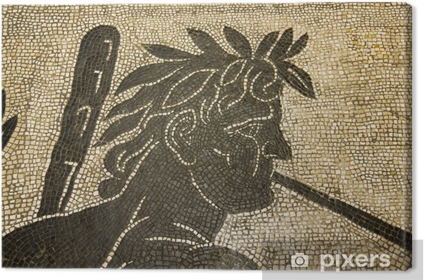Leinwandbild Römisches Mosaik. Vatikan. II Jahrhundert n.Chr. - Öffentliche Gebäude