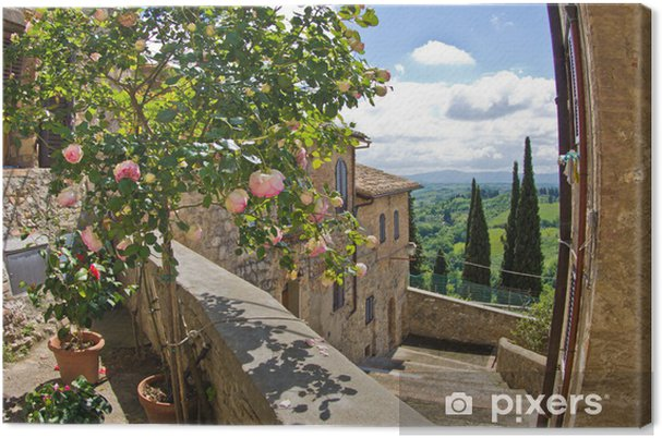 leinwandbild rosen auf dem balkon stadtbild von san gimignano in der toskana landschaft. Black Bedroom Furniture Sets. Home Design Ideas
