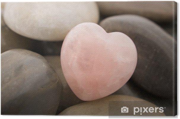 Leinwandbild Rosenquarz Herzen - Steine