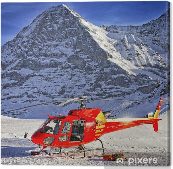 Leinwandbild Rote Hubschrauber landete in der Nähe von alpine Gipfel in der Nähe von Berg Jungfrau - Europa