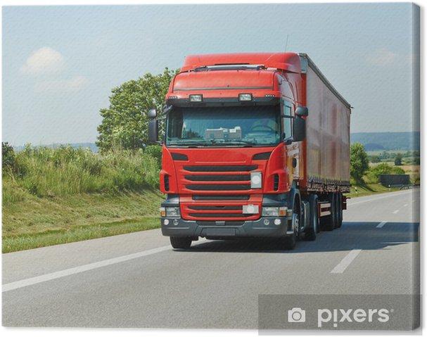 Leinwandbild Rote LKW mit Anhänger auf der Autobahn - Schwerindustrie