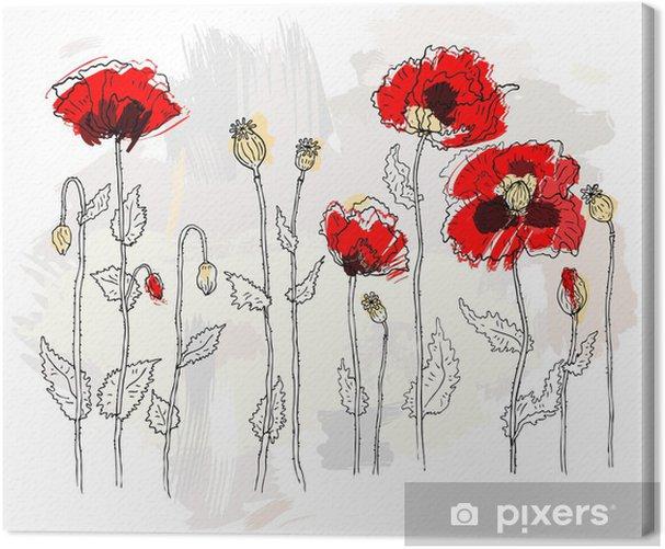 Leinwandbild Rote Mohnblumen auf einem weißen Hintergrund - Blumen