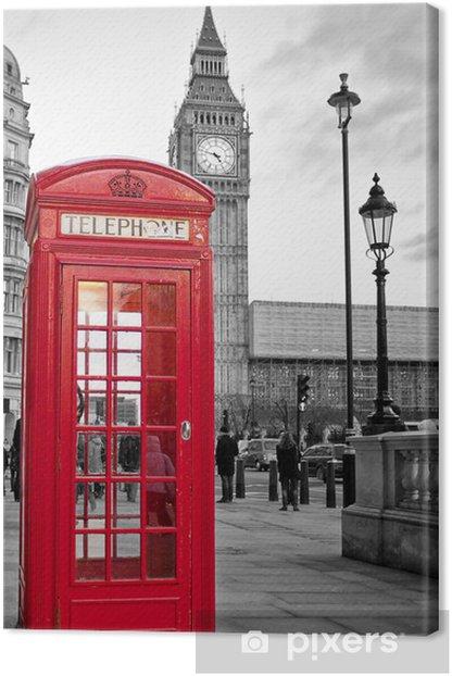 Leinwandbild Rote Telefonzelle in London mit dem Big Ben in schwarz und weiß -