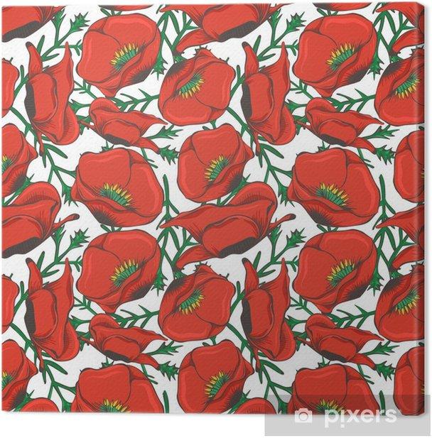 Leinwandbild Roter Mohn nahtlose Muster Design - florale Mode nahtlose Textur - Grafische Elemente