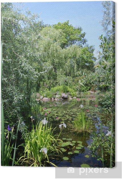 Leinwandbild Ruhige Sommer-Wasser-Garten - Haus und Garten