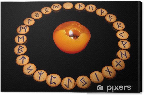Leinwandbild Runen mit Kerze - Esoterik