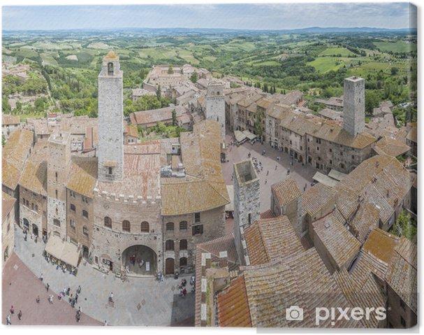 Leinwandbild San Gimignano allgemeine Ansicht in der Toskana, Italien - Europa