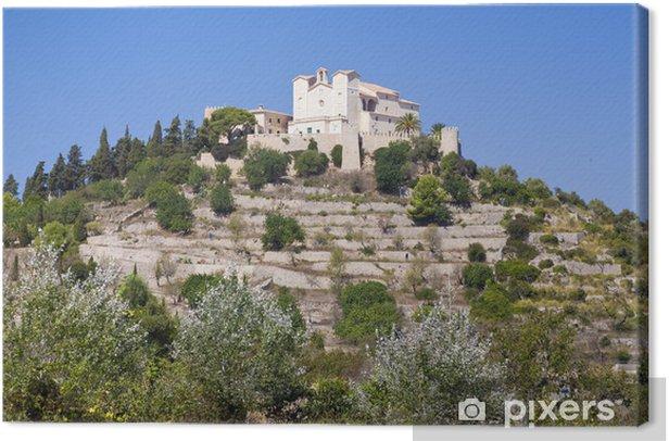 Leinwandbild San Salvador Kirche auf einem Hügel in der Stadt Arta auf Mallorca - Öffentliche Gebäude