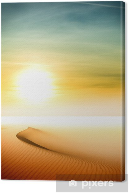 Leinwandbild Sanddünen bei Sonnenuntergang in der Sahara-Wüste - Wüsten