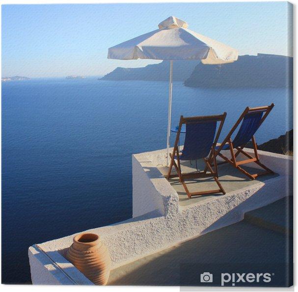 Leinwandbild Santorin - Terrasse et parasol - Europa