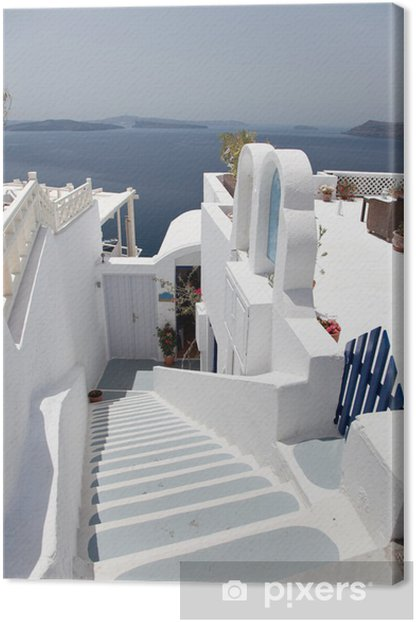 Leinwandbild Santorini Insel vulkanischen Ursprungs in Griechenland Landschaft mit blu - Urlaub