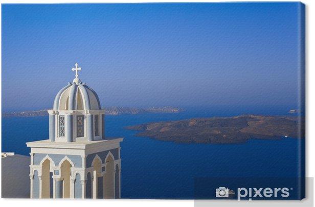 Leinwandbild Santorini Kirche. Griechenland - Urlaub