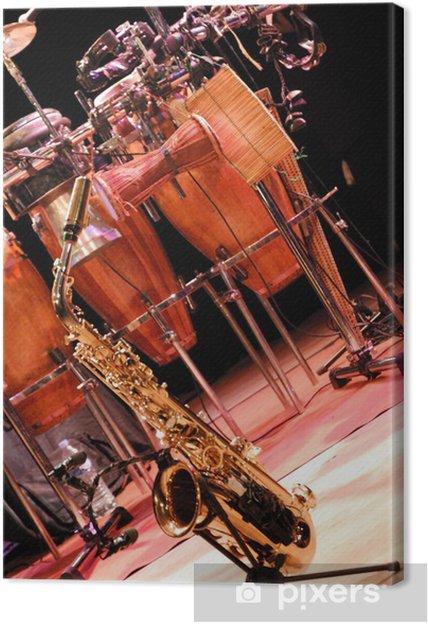 Leinwandbild Saxophon und Percussion - Musik