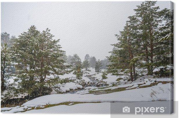 Leinwandbild Schneebedeckte Berge mit Fluss in Madrid. - Jahreszeiten