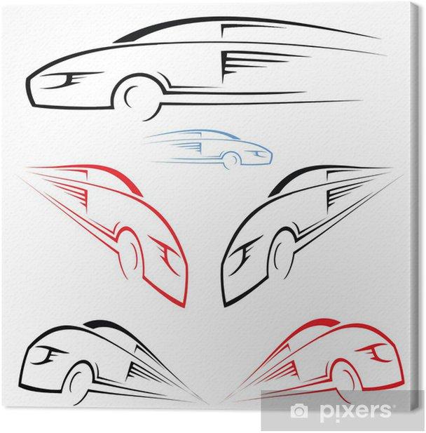 Leinwandbild Schnelles Auto Symbol - Straßenverkehr