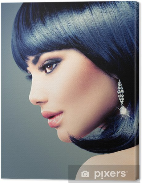 Leinwandbild Schöne Brunette Frau Bob Haarschnitt Kurze Haare