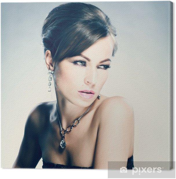 Leinwandbild Schöne Frau mit Abend-Make-up. Schmuck und Beauty - Mode