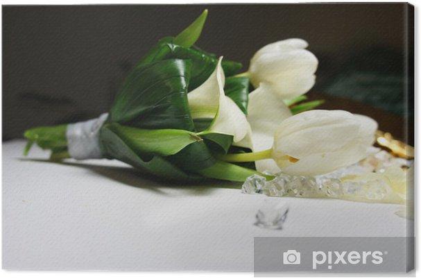 Leinwandbild Schone Hochzeitsstrauss Aus Weissen Tulpen Und Callas