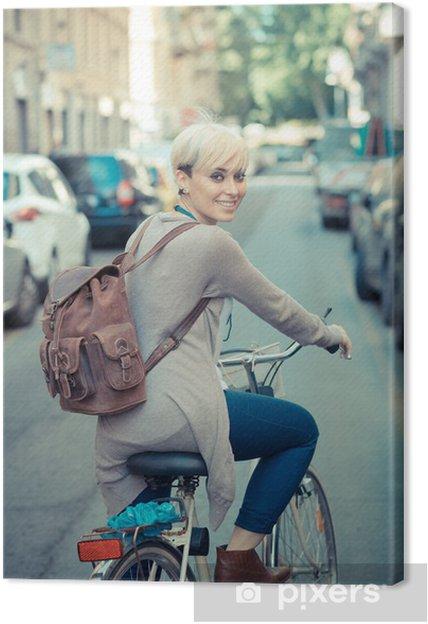 Leinwandbild Schöne Junge Blonde Kurze Haare Hipster Frau Mit Dem Fahrrad