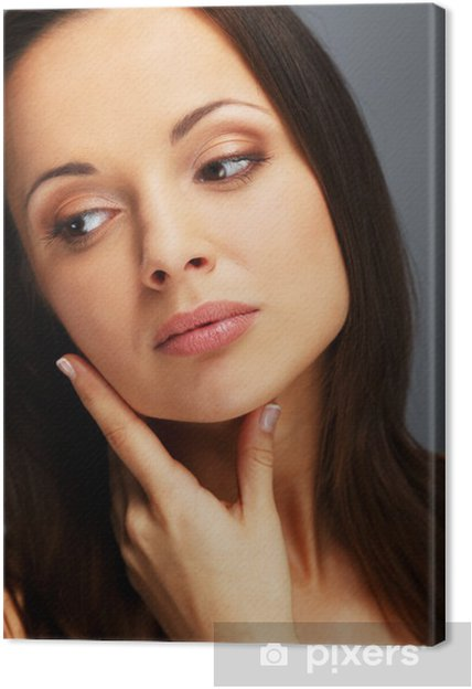 Leinwandbild Schone Junge Brunette Frau Mit Braunen Augen Und Lange Haare Gen