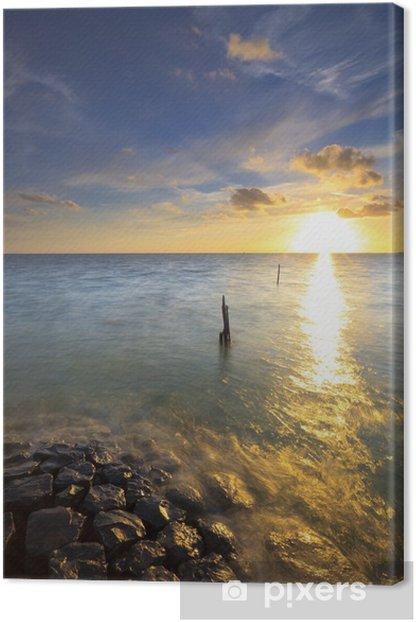 Leinwandbild Schöne ruhige Sonnenuntergang am Meer im Sommer - Jahreszeiten