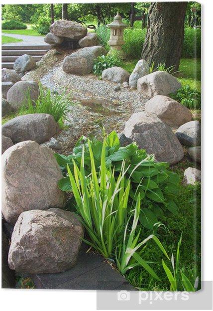 Leinwandbild Schöne Sommer Garten Mit Pflanzen Und Steinen Pixers