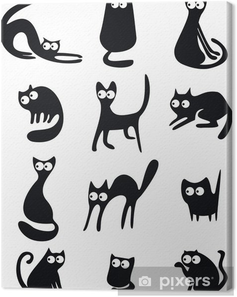 Leinwandbild Schwarze Katze Silhouetten - Säugetiere