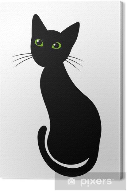 Leinwandbild Schwarze katze - Säugetiere