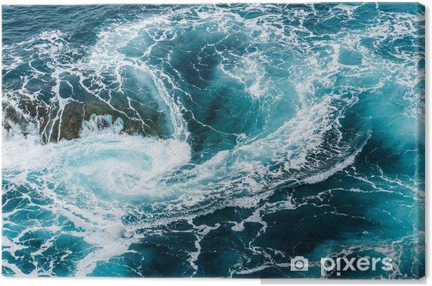 Leinwandbild Schwindelerregende, wirbelnde schäumende Wasserwellen am Ozean fotografierten von oben - Landschaften