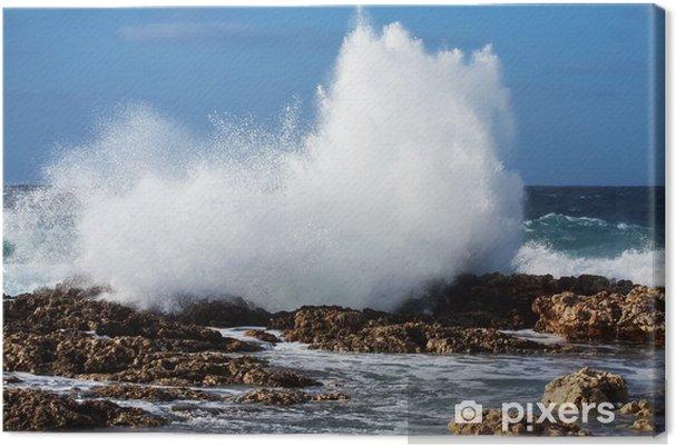 Leinwandbild . Sea Wellenbrechen gegen Küste Rock - Wasser