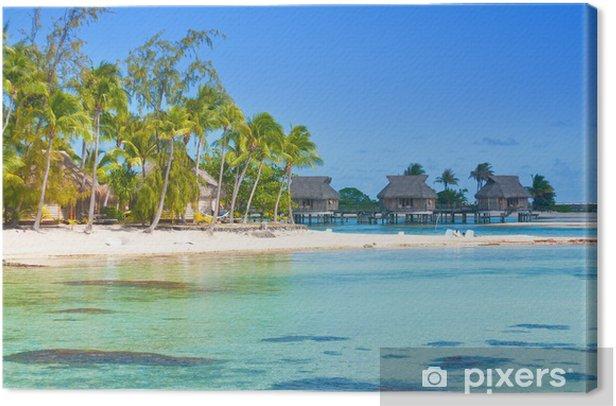 Leinwandbild Seeküste mit Palmen - Palmen