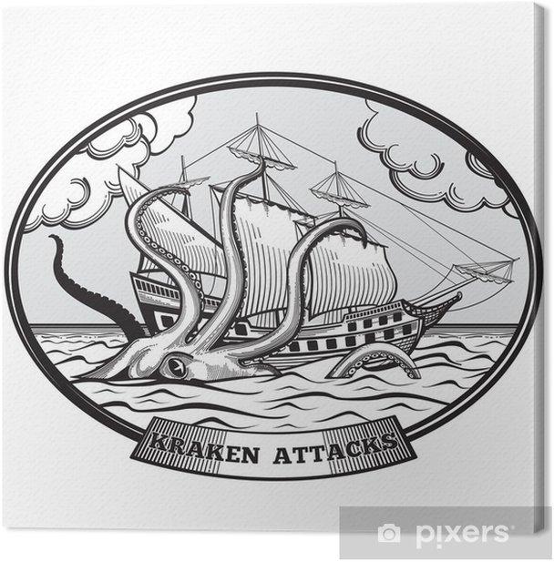 Leinwandbild Segelschiff und Kraken Monster Krake Vektor Emblem in Hand gezeichnet Stil - Zeichen und Symbole