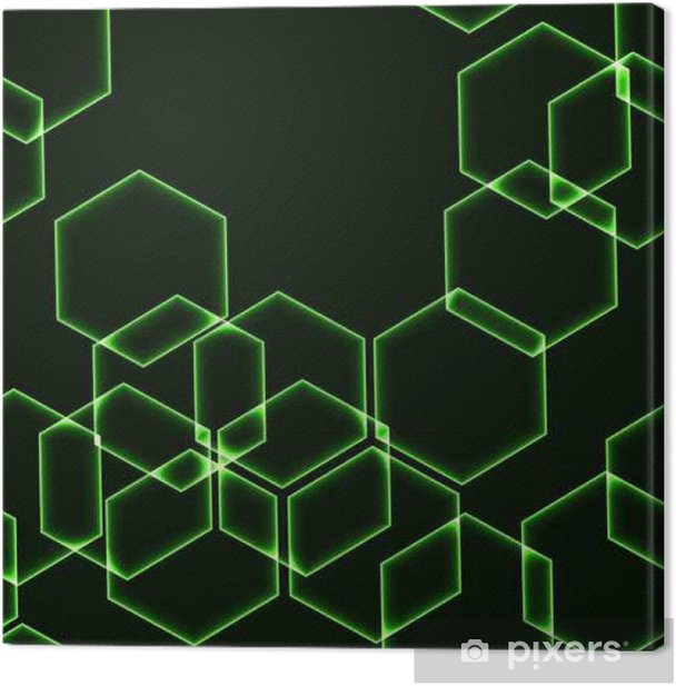 Leinwandbild Sehr dunkler nahtloser Hintergrund mit grünen Hexagone - Grafische Elemente