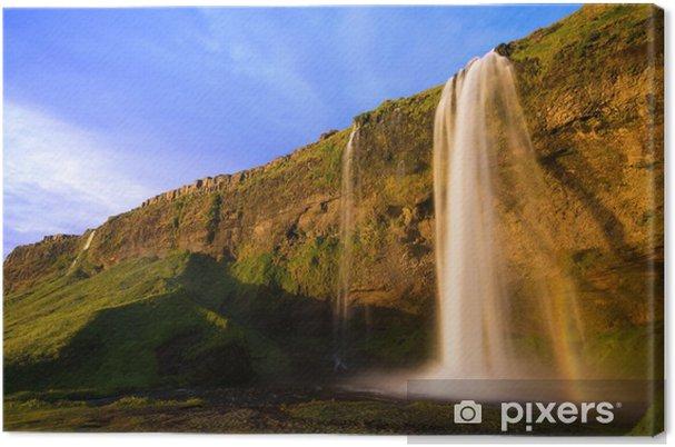 Leinwandbild Seljalandfoss Wasserfall bei Sonnenuntergang, Island - Europa